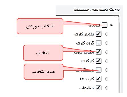 شکل 3- حالتهای مختلف انتخاب قالب دسترسی در نرم افزار حضور و غیاب تحت وب