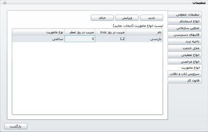 شکل 1- لیست انواع ماموریت در نرم افزار حضور و غیاب تحت وب
