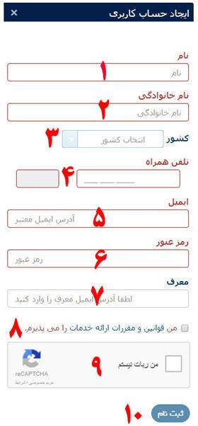 شکل 2- فرم ثبت نام در سایت پالیزافزار