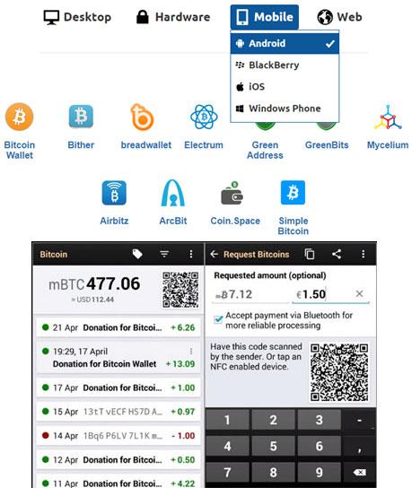 کیف پول موبایلی بیت کوین