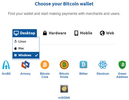 کیف پول بیت کوین بر روی سیستم