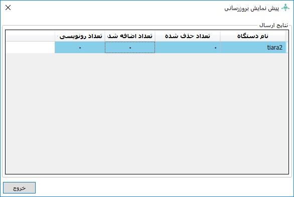 پیش نمایش اطلاعات دستگاه جهت مقایسه با پایگاه داده